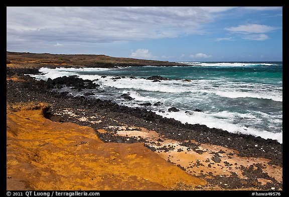 Colorful shale and ocean with surf, South Point. Big Island, Hawaii, USA (color)