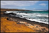 Colorful shale and ocean with surf, South Point. Big Island, Hawaii, USA ( color)
