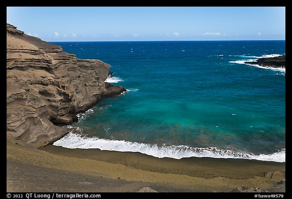 Green sand beach from above, South Point. Big Island, Hawaii, USA (color)