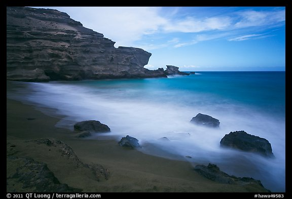 Blurred waves and cliff, Papakolea Beach. Big Island, Hawaii, USA (color)