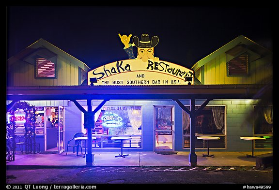 Most southern bar in the USA at night. Big Island, Hawaii, USA (color)