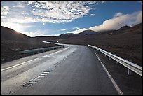 Road and cinder cones. Mauna Kea, Big Island, Hawaii, USA (color)