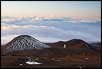 Antenna on volcano top above clouds. Mauna Kea, Big Island, Hawaii, USA