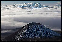 Dark cinder cone and sea of clouds. Mauna Kea, Big Island, Hawaii, USA (color)