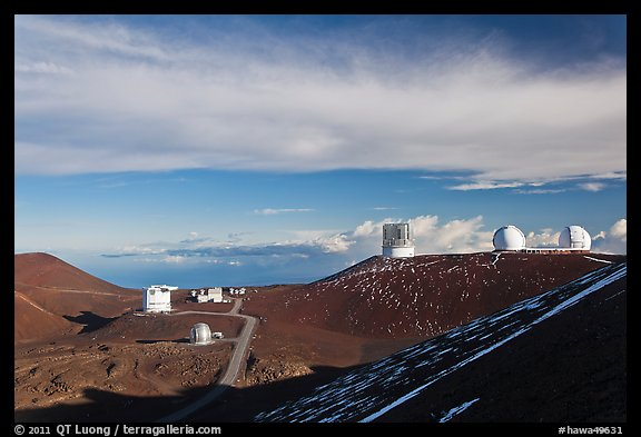 Summit observatory complex. Mauna Kea, Big Island, Hawaii, USA (color)