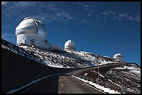 Observatories and recent snow. Mauna Kea, Big Island, Hawaii, USA (color)