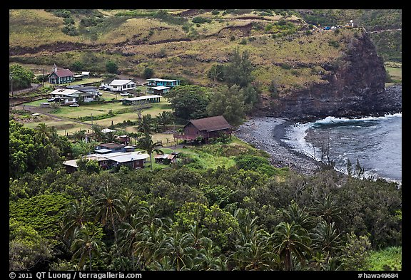 Beach and village,  Kahakuloa. Maui, Hawaii, USA (color)