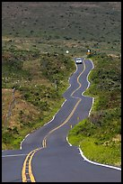 Car on winding Pilani Highway. Maui, Hawaii, USA (color)