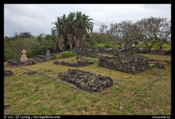 Graves made of lava rocks, Kaupo cemetery. Maui, Hawaii, USA (color)
