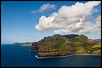 Aerial view of coastline near Lihue. Kauai island, Hawaii, USA ( color)