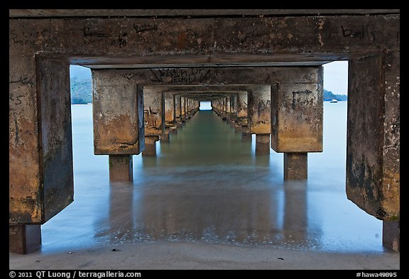 Below Hanalei Pier, dawn. Kauai island, Hawaii, USA (color)