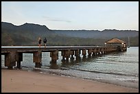 Conversation on Hanalei Pier. Kauai island, Hawaii, USA (color)