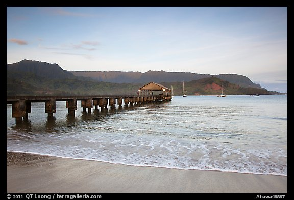 Hanalei Pier at sunrise. Kauai island, Hawaii, USA (color)
