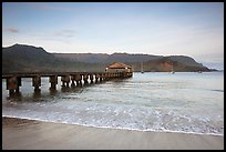 Hanalei Pier at sunrise. Kauai island, Hawaii, USA ( color)