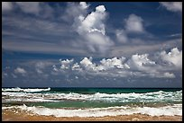 Surf and clouds near Kilauea Point. Kauai island, Hawaii, USA ( color)