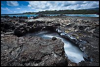 Blowhole,  Mokolea lava bench. Kauai island, Hawaii, USA ( color)