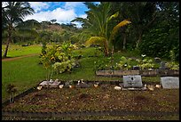 Hawaiian graves, Hanalei Valley. Kauai island, Hawaii, USA (color)