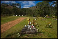 Chinese graves,  Hanalei Valley. Kauai island, Hawaii, USA