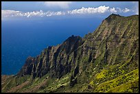 Na Pali Cliffs, seen from Pihea Trail. Kauai island, Hawaii, USA (color)