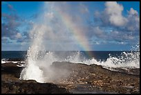 Spouting Horn and incoming surf. Kauai island, Hawaii, USA ( color)