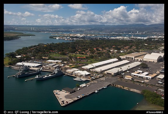 Aerial view of Hickam AFB and Pearl Harbor. Oahu island, Hawaii, USA