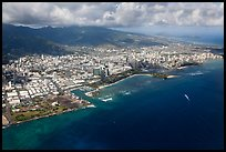 Aerial view of parks and city. Honolulu, Oahu island, Hawaii, USA ( color)