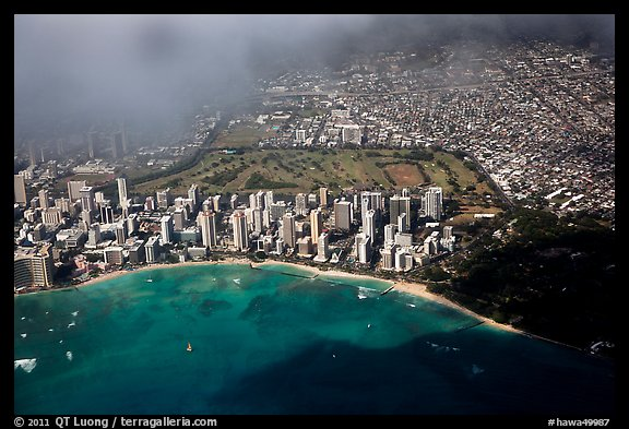 Aerial view of Kapiolani Park. Honolulu, Oahu island, Hawaii, USA (color)