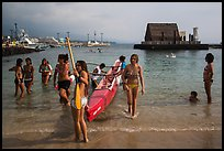 Girls and outrigger canoe, Kailua-Kona. Hawaii, USA (color)