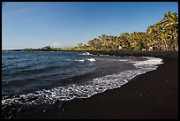 Punaluu black sand beach. Big Island, Hawaii, USA (color)