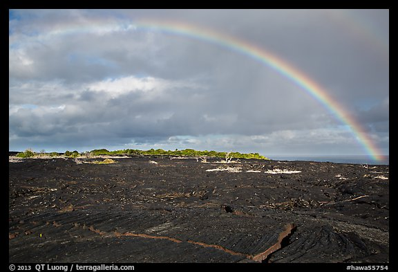 Rainbow over lava fields, Kalapana. Big Island, Hawaii, USA (color)
