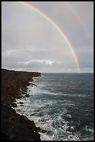 Volcanic coastline and double rainbow. Big Island, Hawaii, USA (color)