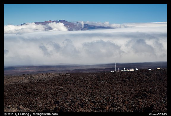 Mauna Loa Observatory, clouds, and Mauna Kea. Big Island, Hawaii, USA (color)