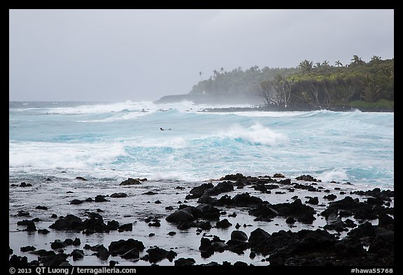 Seascape with strong surf and surfer, Pohoiki. Big Island, Hawaii, USA (color)