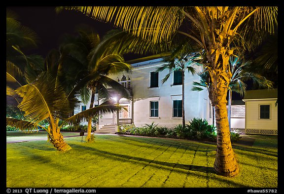 Hulihee Palace at night, Kailua-Kona. Hawaii, USA (color)