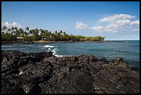 Hardened lava coastline, Kiholo Bay. Big Island, Hawaii, USA (color)