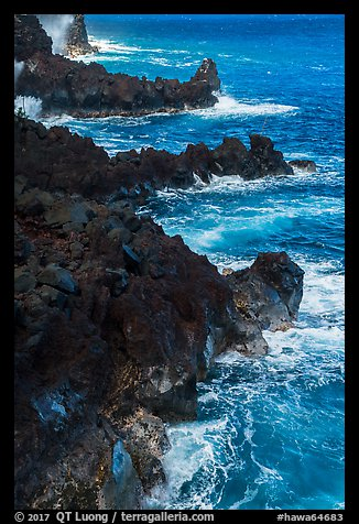 Jagged lava ribs and ocean, MacKenzie State Recreation Area. Big Island, Hawaii, USA (color)
