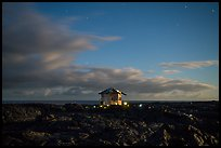 Lone house on the lava field at night, Kalapana. Big Island, Hawaii, USA ( color)