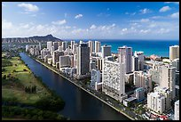 Aerial view of Ala Wai Canal, downtown Waikiki, and Waikiki Bay. Honolulu, Oahu island, Hawaii, USA ( color)