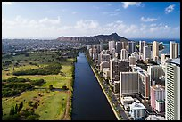 Aerial view of Ala Wai Canal and downtown Waikiki. Honolulu, Oahu island, Hawaii, USA ( color)