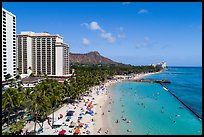 Aerial view of Kuhio Beach. Honolulu, Oahu island, Hawaii, USA ( color)