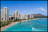 Aerial view of Waikiki Bay and Beach. Honolulu, Oahu island, Hawaii, USA ( color)