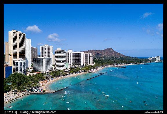 Picture Photo Aerial View Of Kuhio Beach Waikiki Skyline