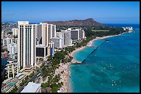 Aerial view of Waikiki Beach, skyline, and Diamond Head. Honolulu, Oahu island, Hawaii, USA ( color)