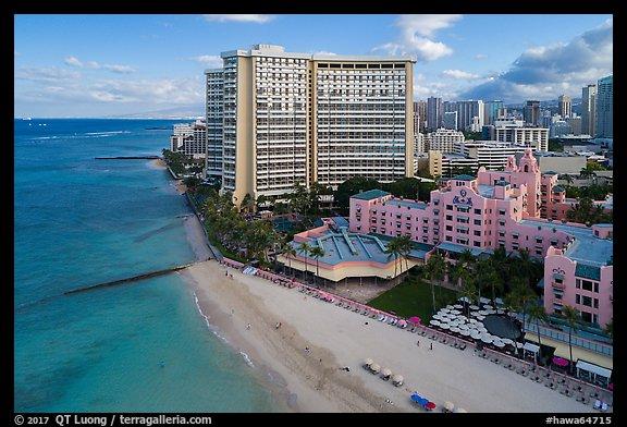 Picture Photo Aerial View Of Royal Hawaiian Hotel And Waikiki Waikiki Honolulu Oahu Island Hawaii Usa
