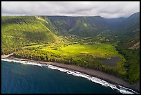 Aerial view of beach and Waipio Valley. Big Island, Hawaii, USA ( color)