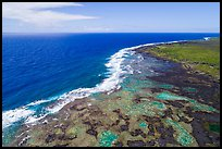 Aerial view of Kapoho tidepools and coast. Big Island, Hawaii, USA ( color)
