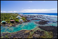 Aerial view of Kapoho tidepools and houses. Big Island, Hawaii, USA ( color)