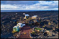 Aerial view of house on lava field, Kalapana. Big Island, Hawaii, USA ( color)