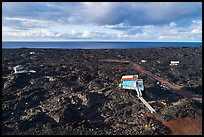 Aerial view of houses on new lava field, Kalapana. Big Island, Hawaii, USA ( color)