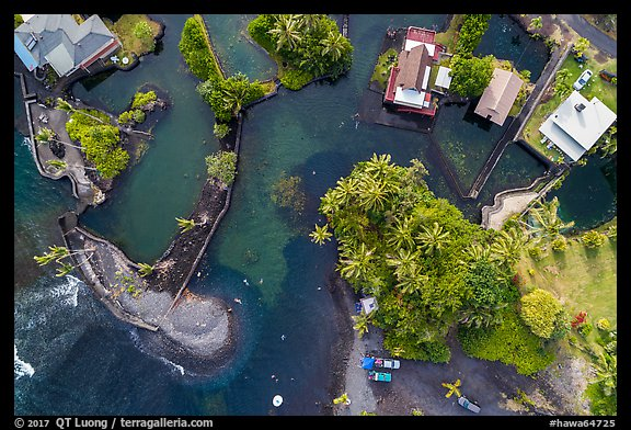 Aerial view of Champagne Ponds area looking down. Big Island, Hawaii, USA (color)